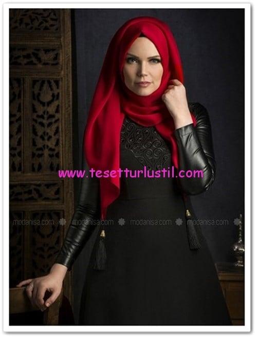 Muslima Wear siyah deri kollu elbise-340 TL