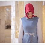 Alvina yakası inci işlemeli elbise