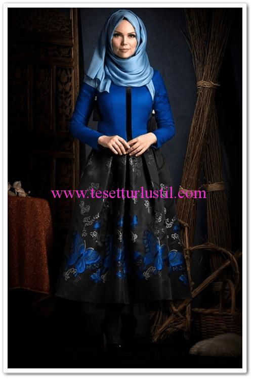 Muslima wear siyah kelebek jakarlı etek-360 TL