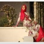 Setrms kırmızı çiçek desenli abiye elbise