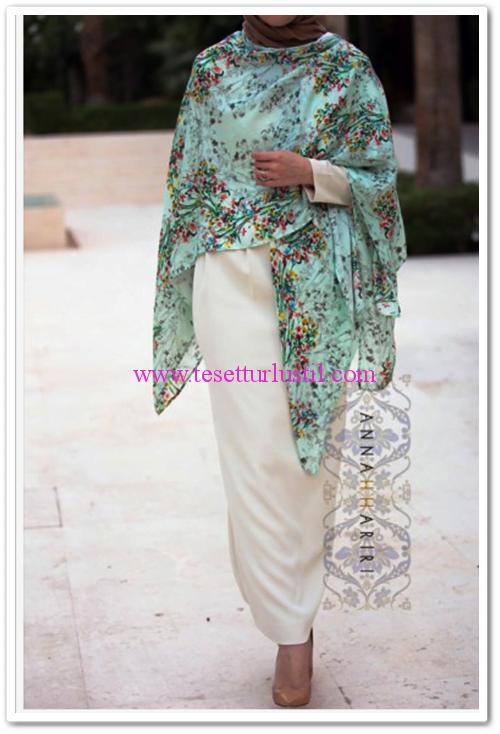 Annah Hariri çiçekli yazlık panço