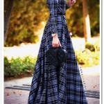 Annah Hariri çizgili uzun elbise
