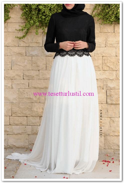 Annah Hariri beyaz şifon etekli uzun elbise