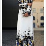 Annah Hariri uzun çiçekli krep elbise