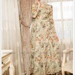 Puane çiçekli ince kemerli yeşil elbise-235 TL