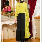 Puane çift renkli elbise-siyah-fıstık yeşili-260 TL