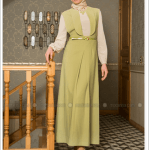 Puane tek pileli elbise-yeşil-240 TL