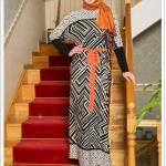 Puane yarasa kollu elbise-siyah-oranj-200 TL