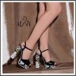 İlvi siyah rugan desenli blok topuklu ayakkabı-279 TL