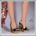 İlvi siyah süet altın rengi blok topuklu sandalet-