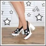 İlvi yıldız desenli siyah beyaz blok topuklu ayakkabı-139 TL