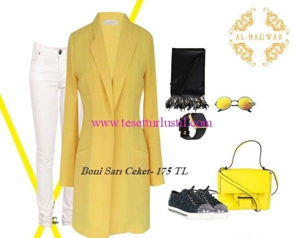 Al-Marwah sarı spor ceketle kombin