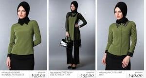 Sateen yeşil bluz-tunik modelleri