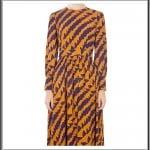 Aker beli büzgülü kuşaklı desenli elbise-235 TL