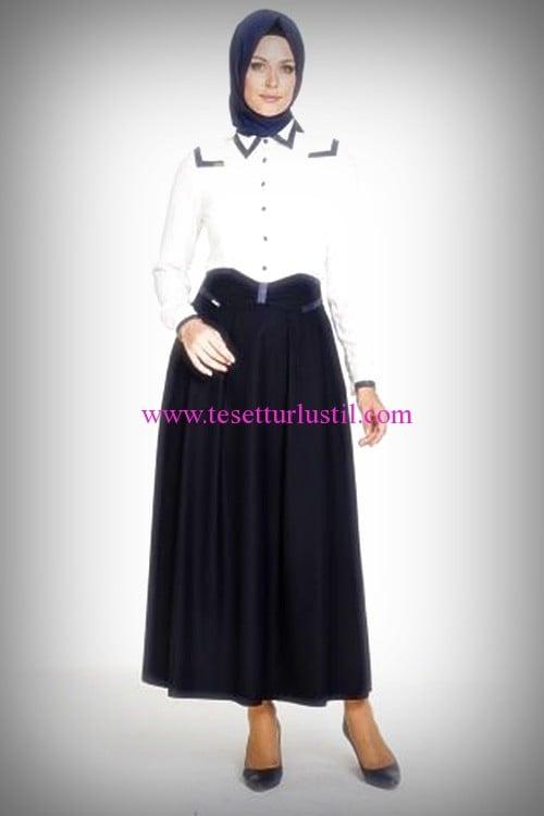 Armine lacivert şeritli beyaz gömlek-185 TL