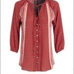 Debenhams-2015-16-Sonbahar-Kış-bohem puanlı kırmızı bluz