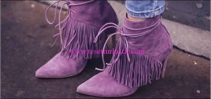 Debenhams 2016 lila süet saçaklı ayakkabı