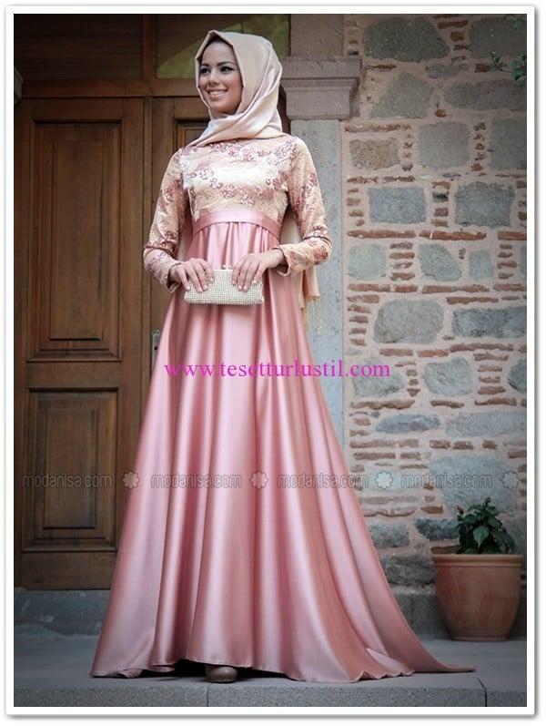 Mevra abiye elbise-pudra