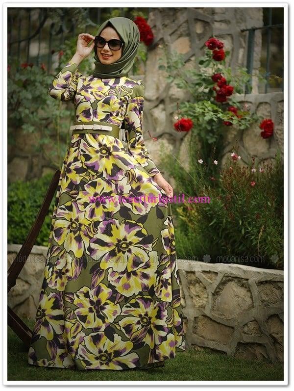 Mevra akasya baskılı elbise-haki