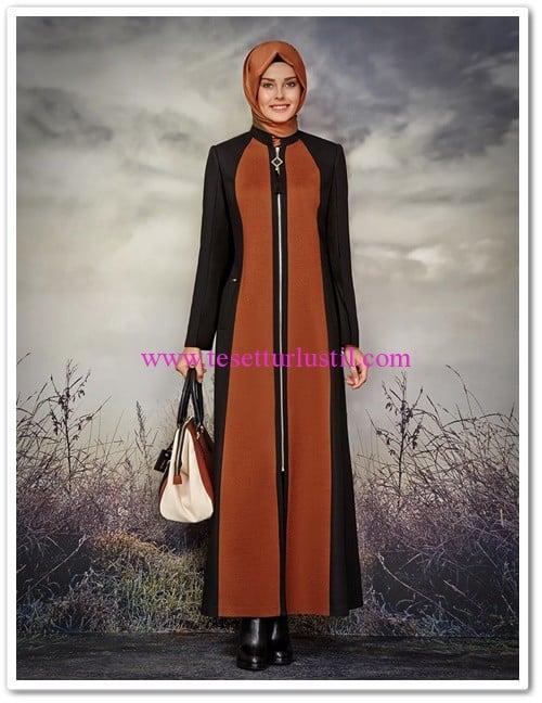 Zühre oranj-siyah fermurlı uzun pardesü