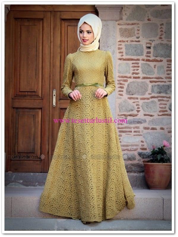 pamuk dantel abiye haki elbise-Mevra