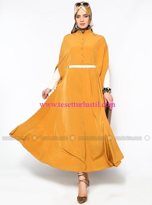 yarim-dugmeli-elbise--hardal--beha-tesettur-70 TL