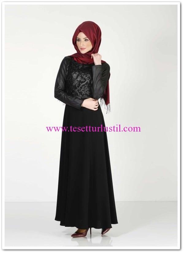 Alvina-dolmabahce-tesettür-elbise-siyah-205 TL