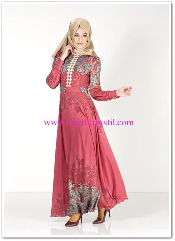 Alvina-maglia-tesettur-elbise-gül kurusu-219 TL