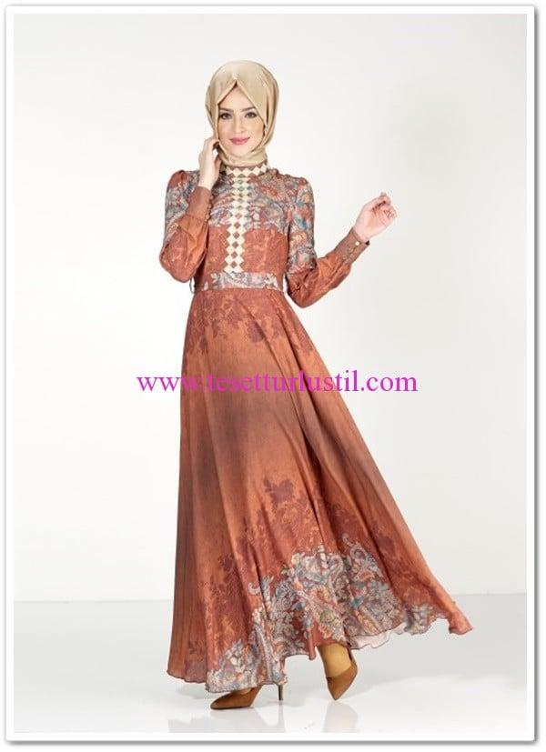 Alvina-maglia-tesettur-elbise-taba-desenli-219 TL