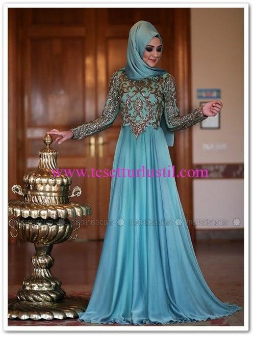 Minel Aşk Ayışığı mint abiye elbise-485 TL