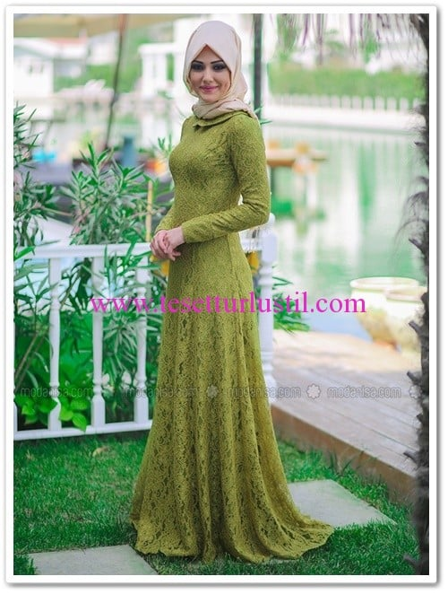 Zümra kapalı uzun elbise-yeşil-Minel aşk-350 TL