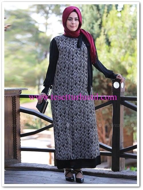 yaka-fularli-elbise-siyah-beyaz--nesrin-emniyetli-139 TL