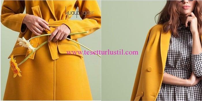 Kuaybe Gider 2016 sarı kuşaklı palto