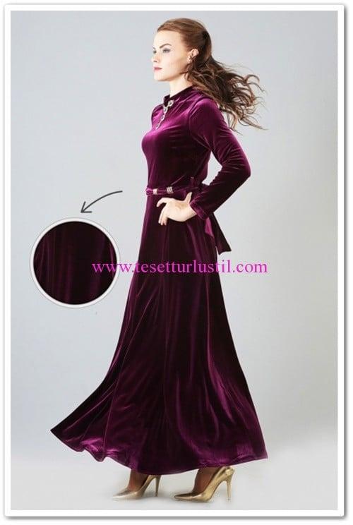 butik-simge-dik-yaka-kadife-elbise-mor-100 TL