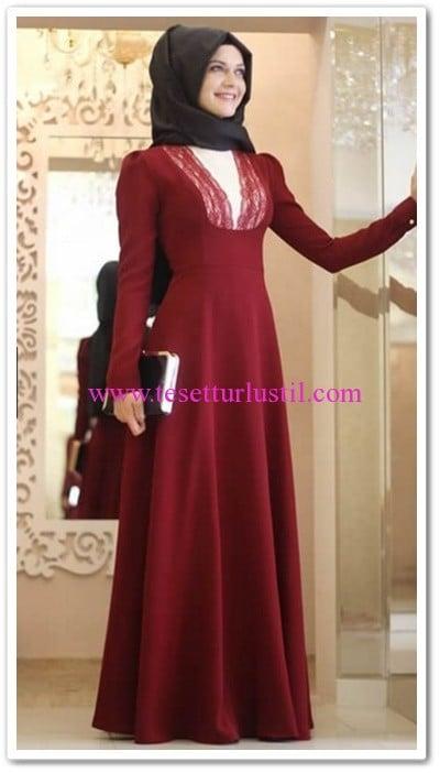 Gamze Polat bordo dantel elbise-265 TL