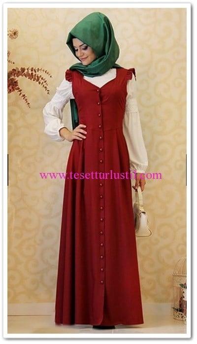 Gamze Polat bordo vintage elbise-195 TL