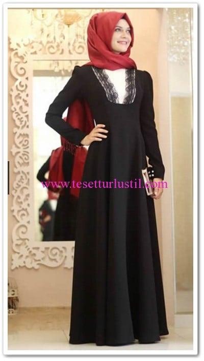 Gamze Polat siyah dantelli elbise-265 TL