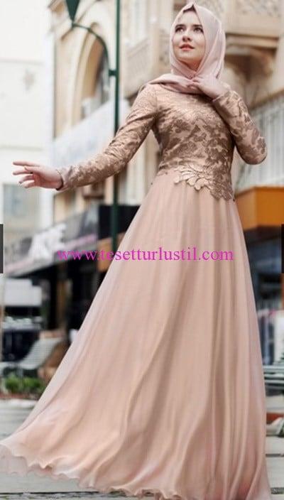 Hilal Baş Gold Abiye Tesettür Elbise-385 TL