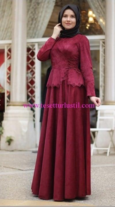 Hilal Baş bordo süet tesettür elbise-230 TL