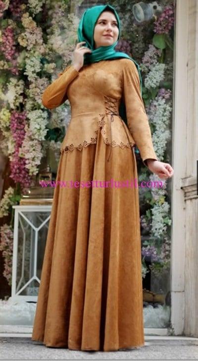 Hilal Baş camel süet elbise-230 TL