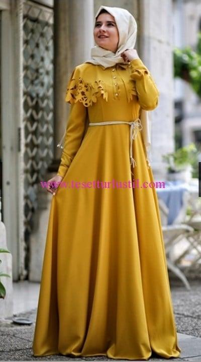Hilal Baş hardal erguvan tesettür elbise-250 TL