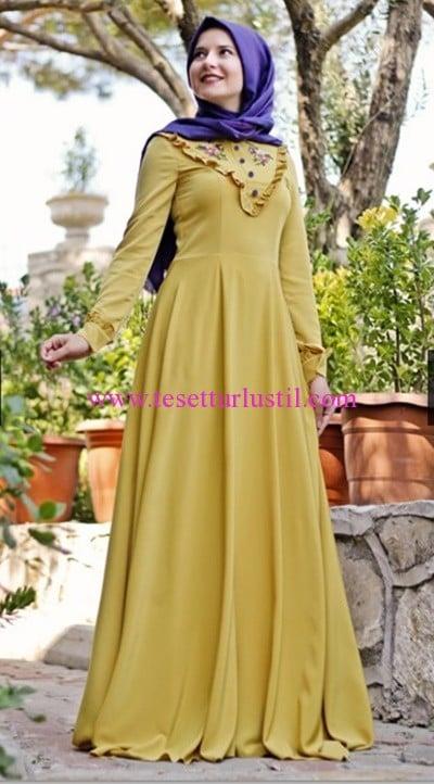 Hilal Baş hardal sarısı kaneviçe tesettür elbise-230 TL