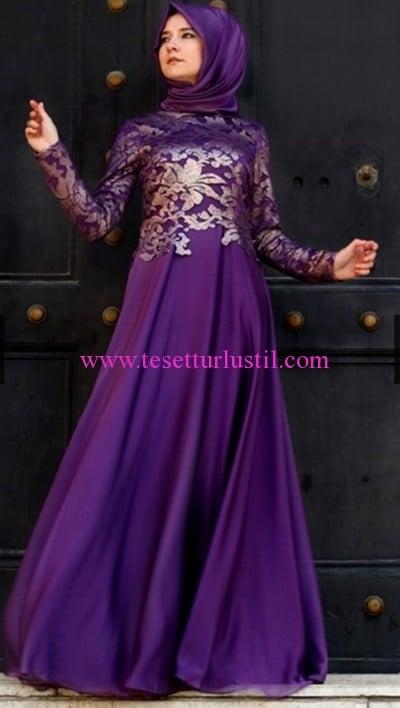 Hilal Baş mor tesettür abiye elbise-385 TL
