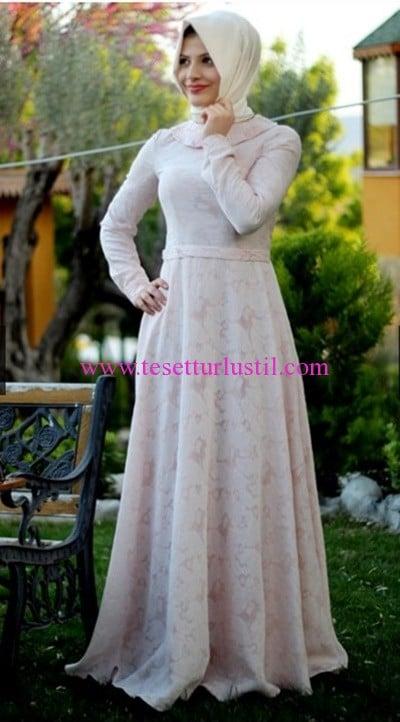 Hilal Baş pudra bebe yaka abiye elbise-250 TL