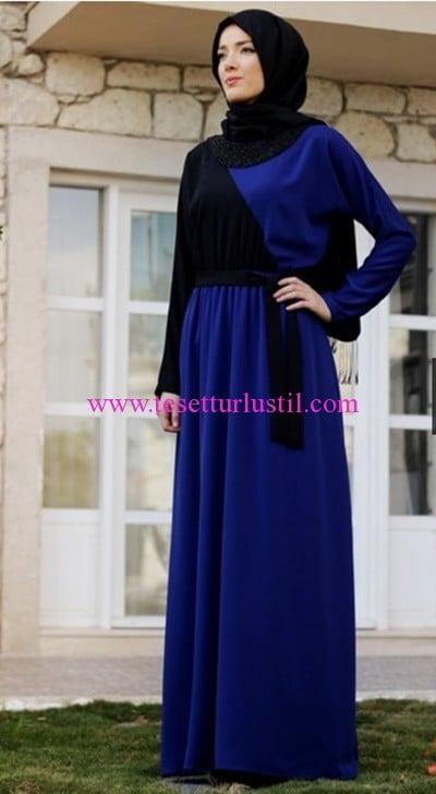 Hilal Baş saks boncuk yakalı tesettür elbise-115 TL