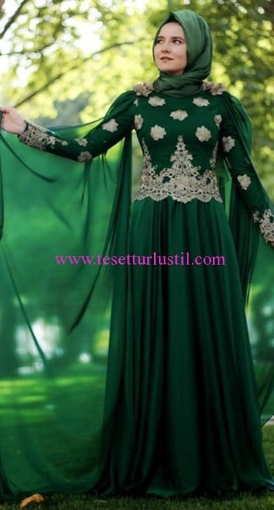 Hilal Baş zümrüt golden tesettür abiye elbise-430 TL