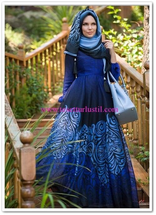Muslima Wear desenli elbise-mavi-540 TL