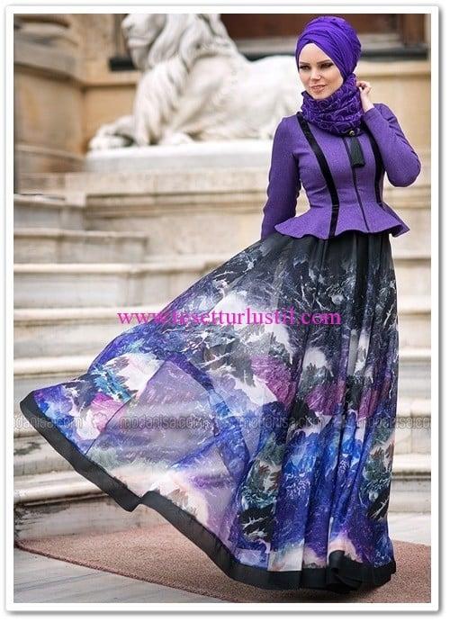 Muslima Wear mor kafkas etek-370 TL
