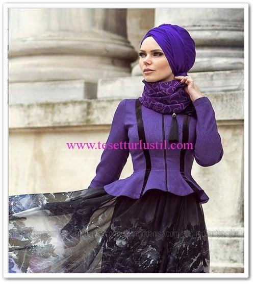 Muslima Wear mor volanlı bluz-190 TL