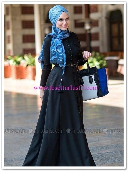 Muslima Wear siyah bouqet elbise-420 TL